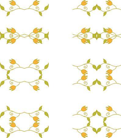 Set of floral branch elements Vector