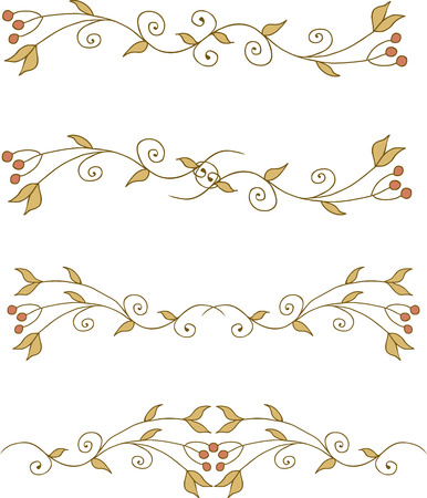 Set of branch elements with leaves and berries Vector