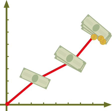 Financial graph with rising incomes 일러스트