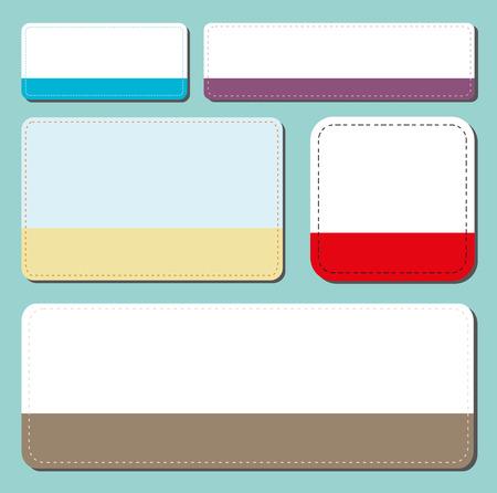 seam: set of colored rectangular stickers with seam