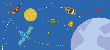 interplanetary: cosmos with rockets and planets Illustration