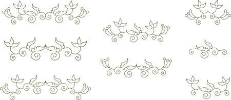 contour: Set of floral element contour Illustration