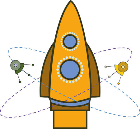 spacecraft: emblem of the spacecraft with satellites