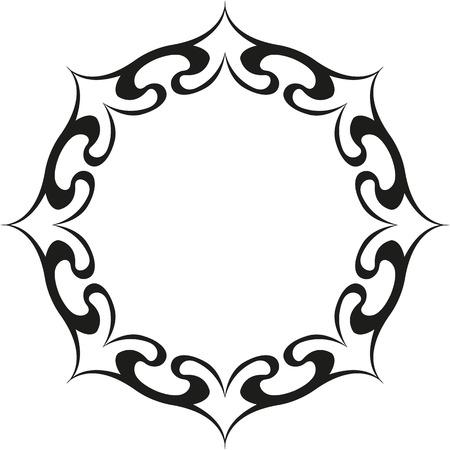 round ethnic tattoo with sun Çizim