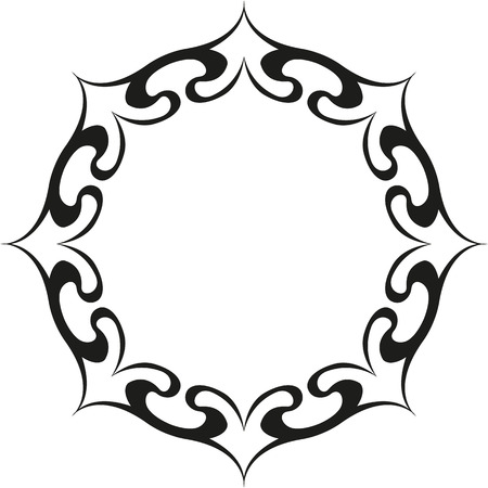 round ethnic tattoo with sun Illustration