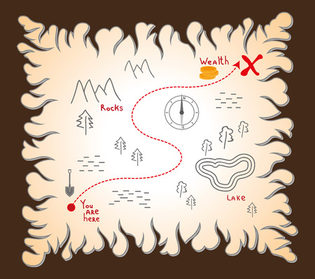 old treasure map with a scheme Ilustração