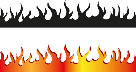 Set of Seamless flame border