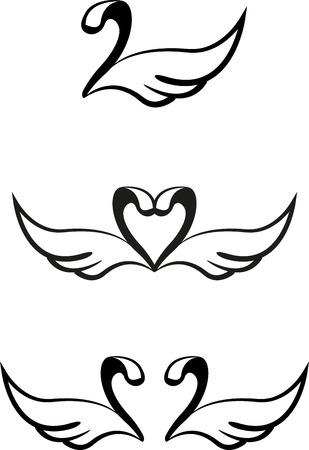 Set of abstract graphic swans Vector
