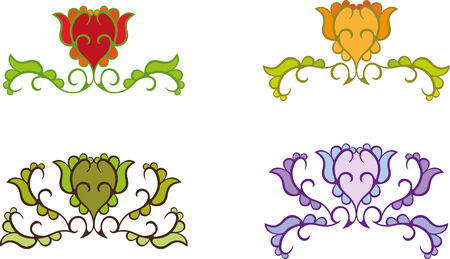 Set of abstract colored flowers Vector