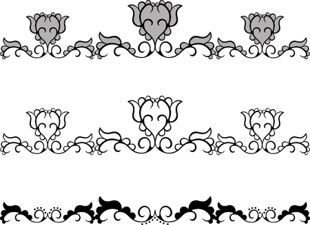 Set of abstract flower border with pattern Vector
