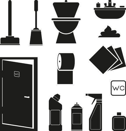 black bathroom: Set of black bathroom icons Illustration