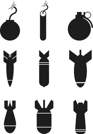 violencia: Conjunto de iconos de bombas negras