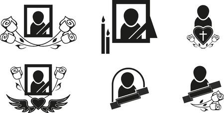 Set of black funeral symbols Illustration