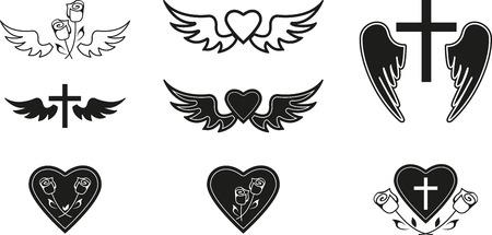 rosas negras: Conjunto de símbolos funerarios negros Vectores