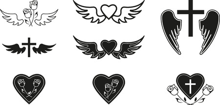 cross and wings: Set of black funeral symbols Illustration