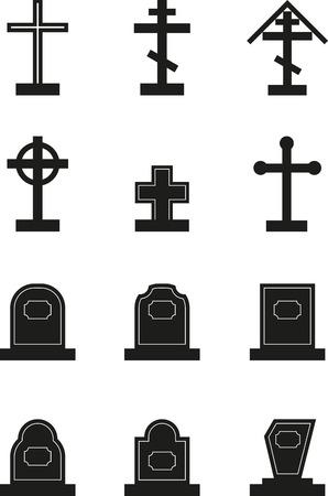 Set of black headstone silhouettes