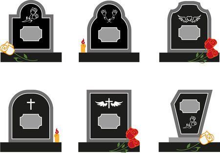 Set of black headstones with flowers
