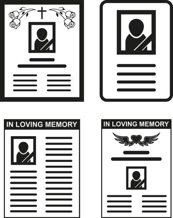 flowers black background: Set of abstract black obituarys