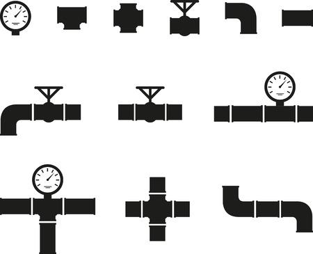 Set of black details pipes  イラスト・ベクター素材