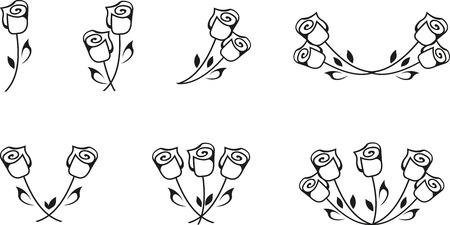 rosas negras: Conjunto de rosas negro silueta