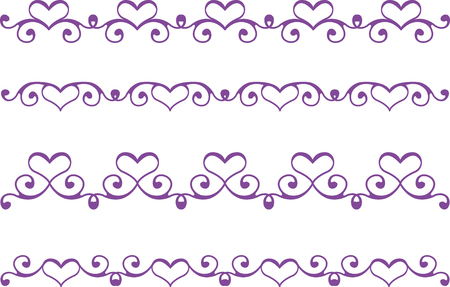 floral heart: Set of floral heart borders
