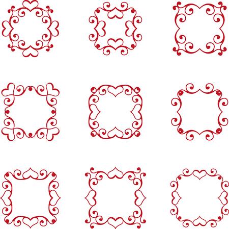 floral heart: Set of floral heart frames Illustration