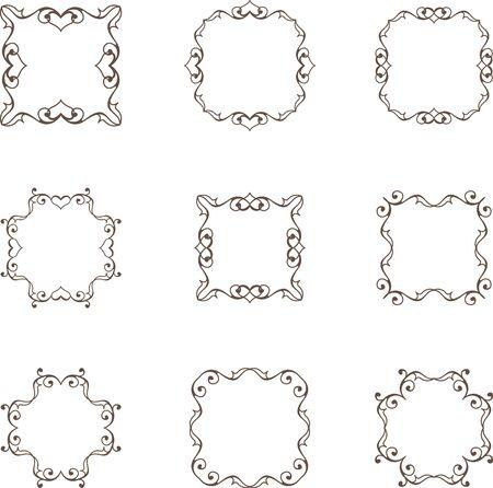Set of floral heart frames 일러스트