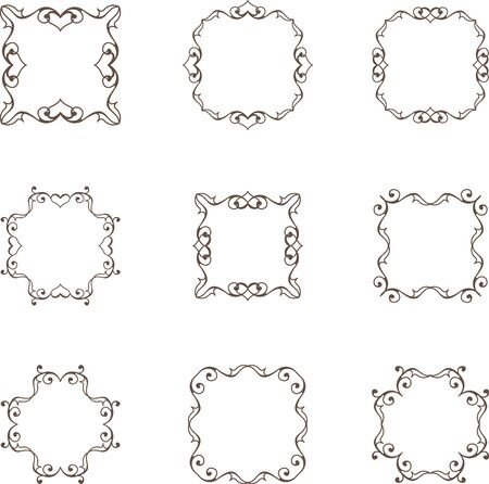 Set of floral heart frames Vettoriali