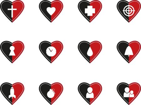 persona: Set of abstract heart symbols Illustration