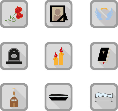 decease: Set of funeral flat icon Illustration