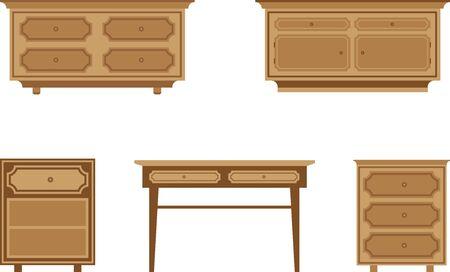 nightstands: set of wooden tables and nightstands