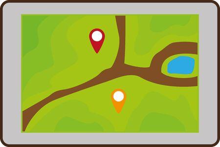 gps device: Flat image of tourist map