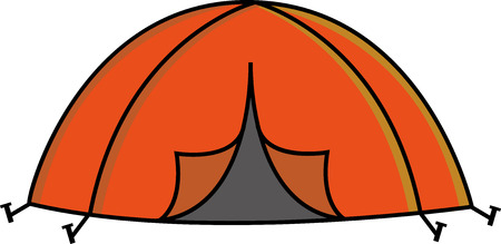 pegs: Orange camp tent with pegs Illustration