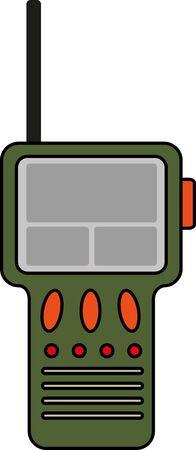 portable radio: Radio port�til verde con la antena Vectores