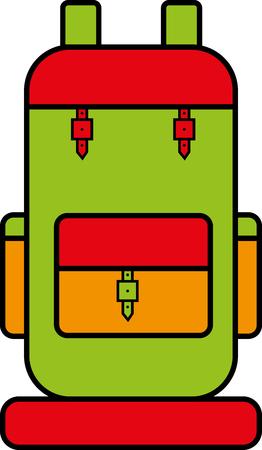mochila de viaje: mochila de viaje esquemática con colores brillantes