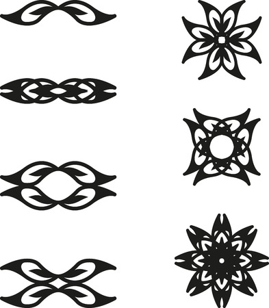 graphic element: Set of floral abstract graphic element