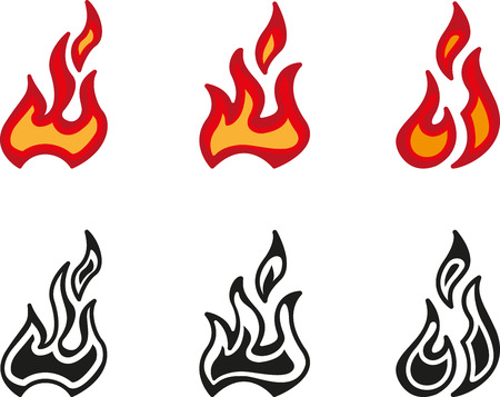 set of fire icon with flame