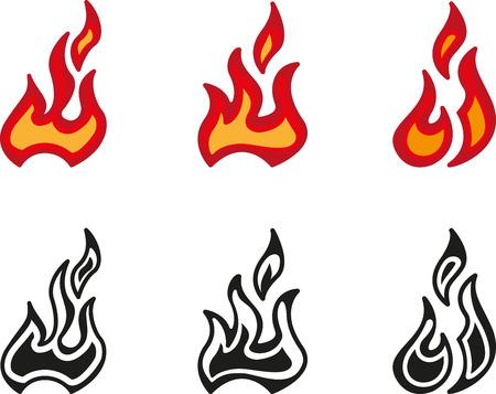 llamas de fuego: conjunto de icono de fuego con la llama Vectores