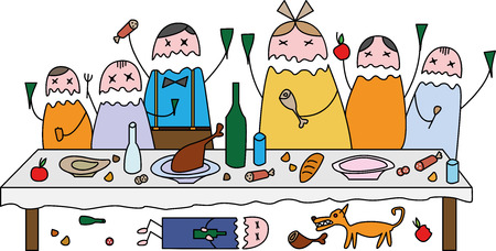 people celebrating: Color image of people celebrating at the table