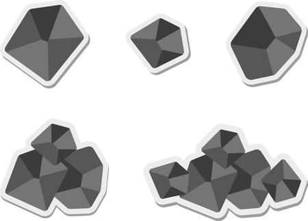 lump: Set of flat coal icon Illustration
