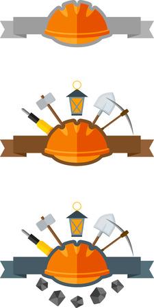 mine lamp: Set of mining emblem with helmet