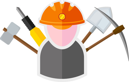 mine lamp: flat image of miner with tools