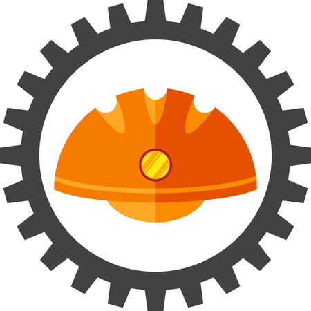 hard: gear with flat image of the helmet hard