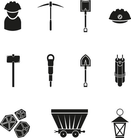 mineria: Conjunto de icono de la miner�a negro