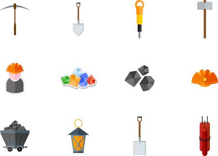 mine lamp: Set of mining flat icon
