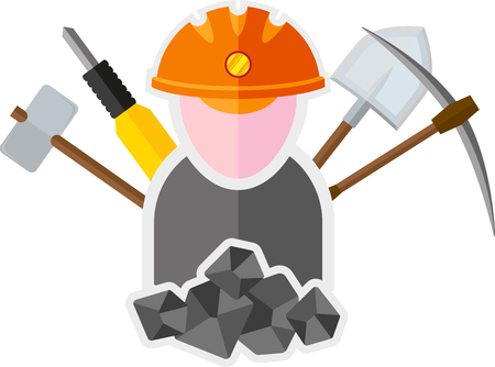 the miner: flat image of miner with tools
