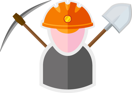 miner: flat image of miner with tools