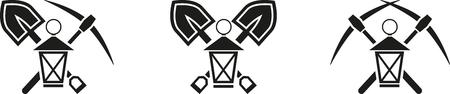 mine lamp: Set of mining emblem with lamp