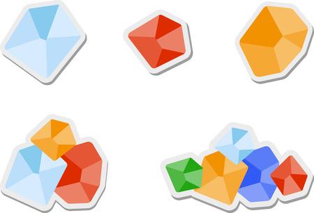 gemstones: Set of flat colored gemstones
