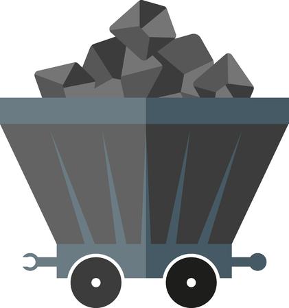 flat image of coal wagon Illustration